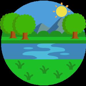 Landschaft mit Bergen im Hintergrund und einem Fluss im Vordergrund