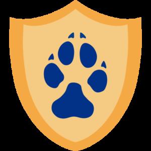 Wach-Schild mit Pfotenabdruck eines Hundes
