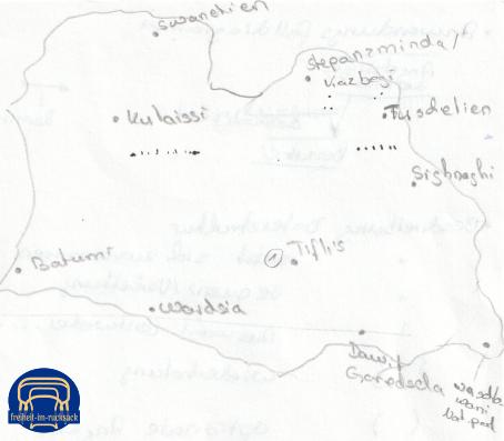 meine Skizze für die Georgien-Route