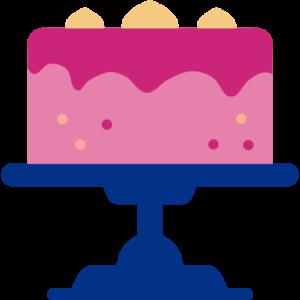 Kuchen auf einer Plattform