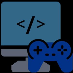 Computer mit Controller zum Spielen