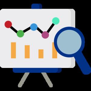 Flip-Chart mit einem Graphen und Säulendiagramm